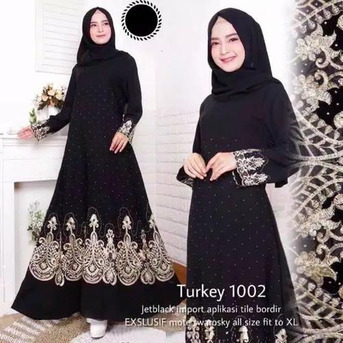 Foto Produk gamis abaya bordir turkey 04 - Hitam, XL dari GrosirAbaya
