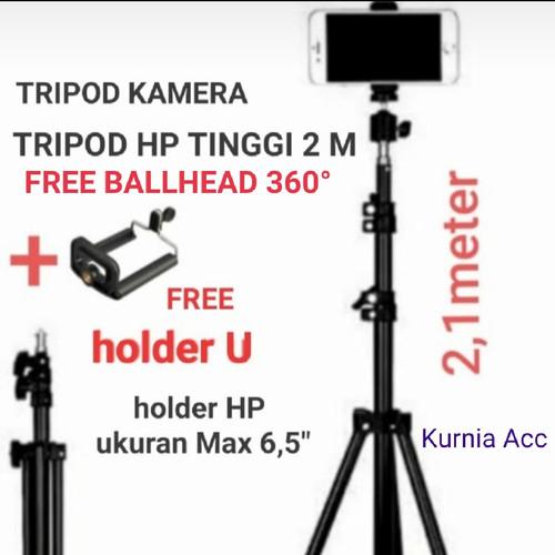 Foto Produk tripod hp dan kamera 2 meter / tripod 2 meter / tripod kamera + holder dari KURNIA ACCESSORIES HP