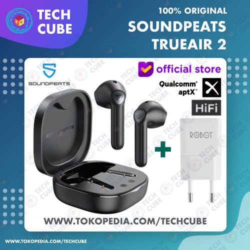 Foto Produk Soundpeats TrueAir 2 TWS APTX Earphone Headset Wireless Bluetooth Air - Hitam Adaptor dari Tech Cube