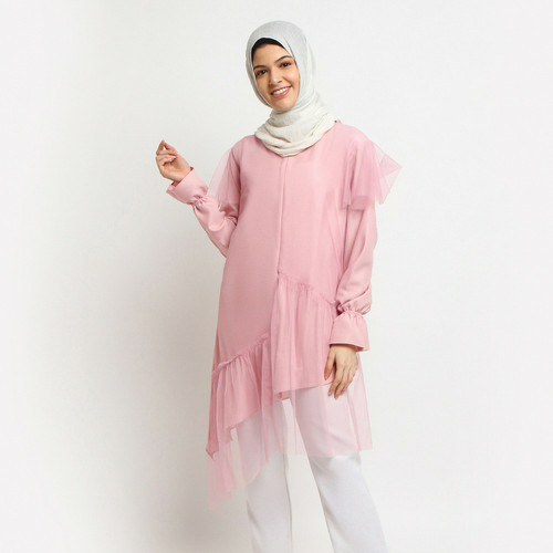 Foto Produk Baju Atasan Wanita Tunik Tile - Emikoawa Kerja Jepang Korea - Pink dari emikoawa