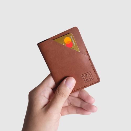 Foto Produk WAKU NODA Dompet Kartu/Card Holder Kulit Leather - Coklat Tua dari WAKU Indonesia