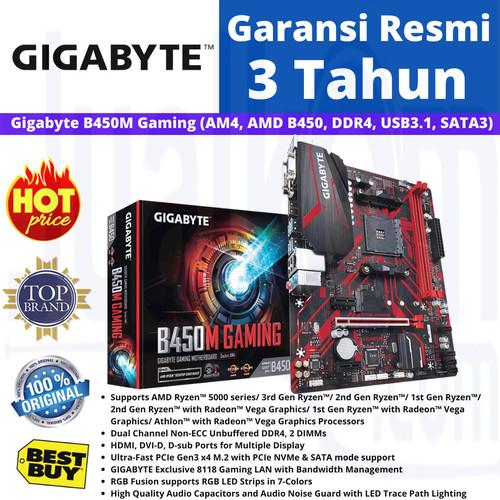 Foto Produk GIGABYTE MAINBOARD B450M B 450M GAMING AM4 DDR4 dari Karya Megah Computers