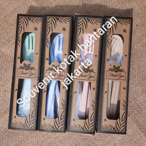 Foto Produk souvenir sendok garpu sumpit jerami travel set kemas box rustic dari souvenir kotak hantaran jakarta