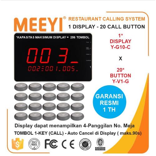 Foto Produk Bel Meja Restoran 1 Display dan 20 Call Button - MEEYI Y-G10-C x Y-V1 dari EtalaseBelanja