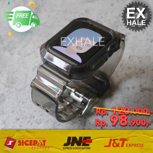 Foto Produk Tali Strap Case Apple Watch Silikon Transparan Transparent Hitam Black - 38mm 40mm dari Exhale Collection