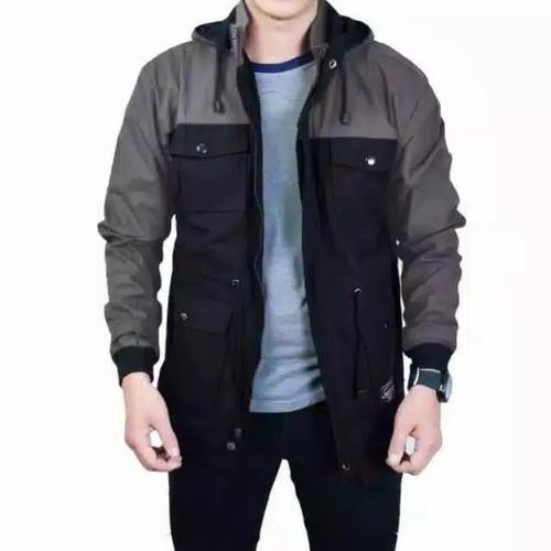 Foto Produk Jaket Parka Pria Kombinasi Premium - GreyHitam, L dari Roqu Store96
