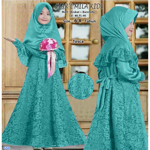 Foto Produk Syari Mila Brukat Kids /Gamis Anak Terbaru/Baju Muslim Anak Perempuan - Hijau dari www.grosirdress.com