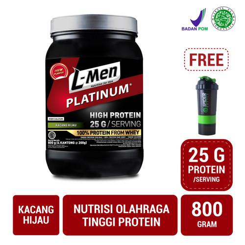 Foto Produk L-Men Platinum Kacang Hijau 800gr FREE Spider Bottle dari NutriMart