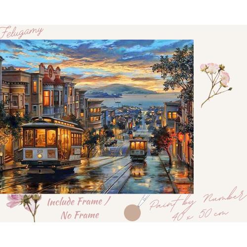 Foto Produk Paint By Number Pemandangan Kota dan Gunung Sore Hari - No Frame dari Felugamy