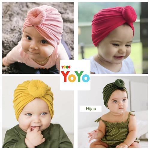 Foto Produk Turban donat bayi / bandana anak bayi/ ciput bayi/Turban balita jersey - Merah dari Toko-Yoyo