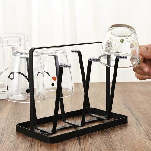 Foto Produk Mainland Rak Gelas Gantung Holder 6 Cup Minimalis Tempat Gelas HDK101 - Besi Hitam dari Mainland_
