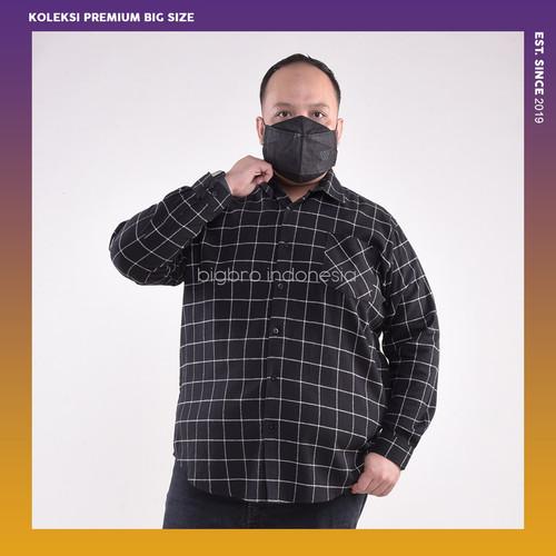 Foto Produk Kemeja Flanel Pria Jumbo Big Size Cowok Ukuran Besar XXL XXXL Hitam - 3XL dari BIG BRO Indonesia
