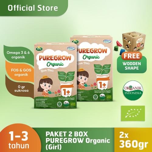 Foto Produk Paket 2 Box PUREGROW Organic 1-3 thn 360gr Girl Free Wooden Shape dari PUREGROW Organic House