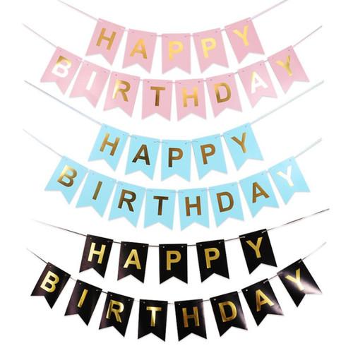 Foto Produk Banner Happy Birthday / Banner Ulang Tahun Aneka Warna dan Karakter - Putih dari Balonku Shop
