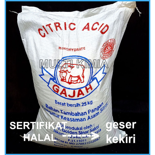 Foto Produk Monosodium Citric Acid / Asam Sitrun / Citrun 1 kg CAP GADJAH dari Multi Kimia