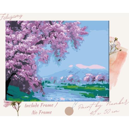Foto Produk Paint By Number Lukisan Minyak Pemandangan Pohon Sakura - No Frame 01 dari Felugamy