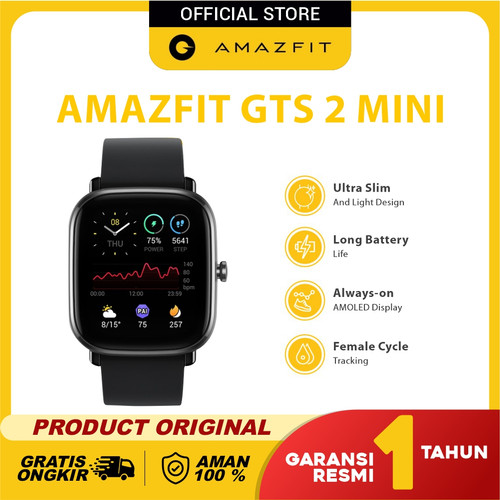 Foto Produk Amazfit GTS 2 Mini Sport Mode 70+ Ultra Slim Always On Garansi Resmi - Midnight Black dari Amazfit Official