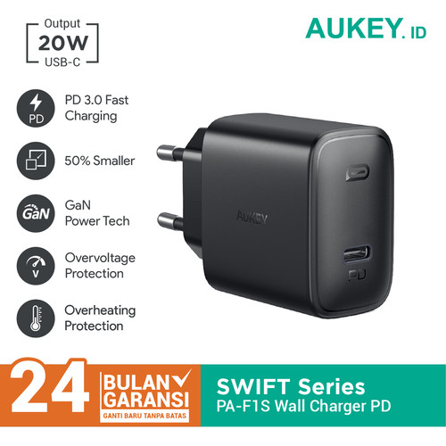 Foto Produk Aukey Wall Charger PA-F1S 20W Ultra Compact with PD 3.0 - 500723 dari Aukey Tangerang