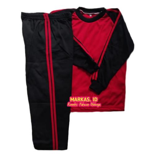 Foto Produk Setelan Olahraga Baju Trening anak sekolah TK PAUD - Merah Hitam Pjg, M dari Markas Online