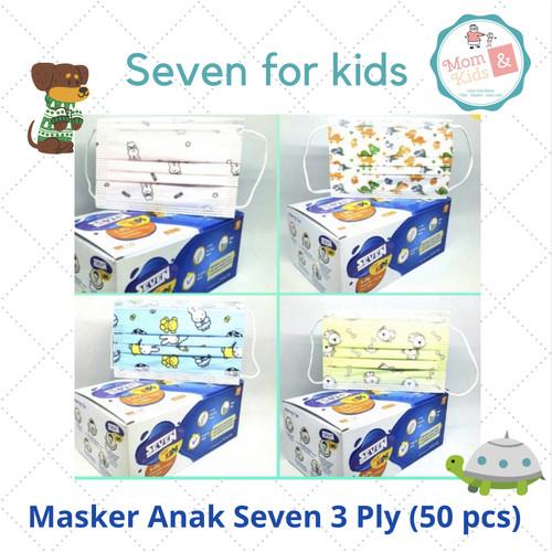Foto Produk Masker Medis Anak Seven 3 Ply 50 pcs / Masker Seven Kids - Putih Dino dari Toko Susu Mom n Kids