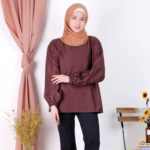 Foto Produk Linata Fashion   Kalina Blouse Lengan Balon Moscrepe Import - Cokelat Milo, L dari LinataFashion