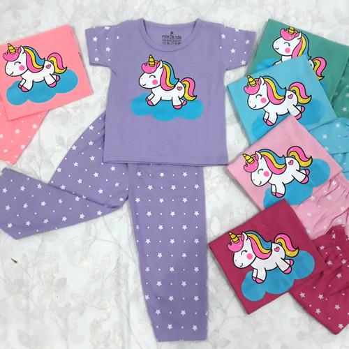 Foto Produk baju stelan anak perempuan panjang baju tidur anak cewek piyama cewek - random, M dari lovelyclothes