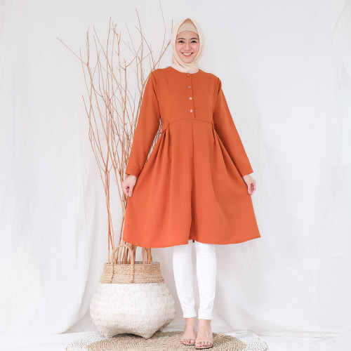 Foto Produk Linata Fashion| Tunik Wanita Adena Moscrepe Import - Cokelat Bata dari LinataFashion