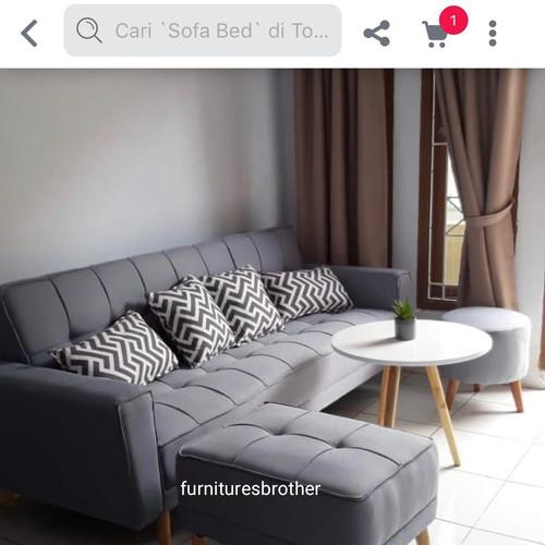 Foto Produk sofa bad fb 02 +puff+stool+mk - Abu-abu dari cellyfurnitu