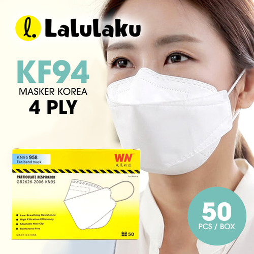 Foto Produk Lalulaku Masker KF94 Putih - Masker korea 4Ply Earloop dari Lalulaku