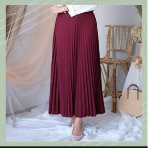 Foto Produk Rok plisket wanita rempel jumbo/Rok kerja panjang muslim - MAROON TUA dari Anitaqueen
