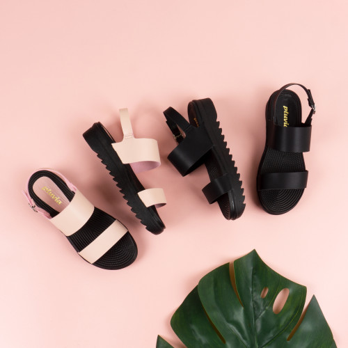 Foto Produk Pluvia - MEDYAN Sandal Tali Platform Wanita - Hitam, 39 dari Pluvia Shoes