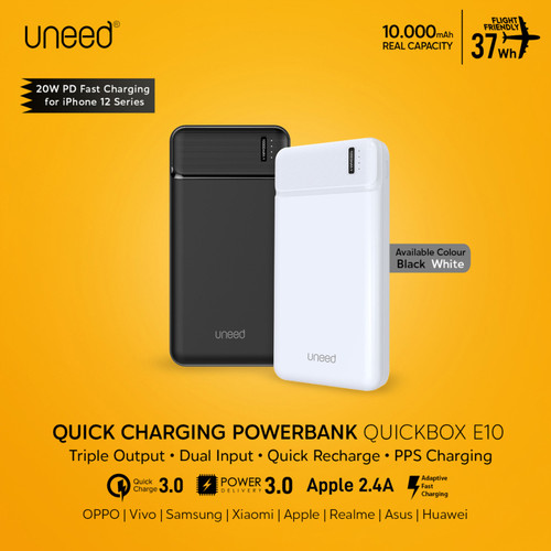 Foto Produk UNEED 10000mAh Powerbank 20W Fast Charging PPS PD QC 3.0 - UPB111 - Hitam dari Uneed Indonesia