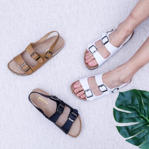 Foto Produk Pluvia - JENIA Sandal Flat Wanita Footbed - Hitam, 37 dari Pluvia Shoes