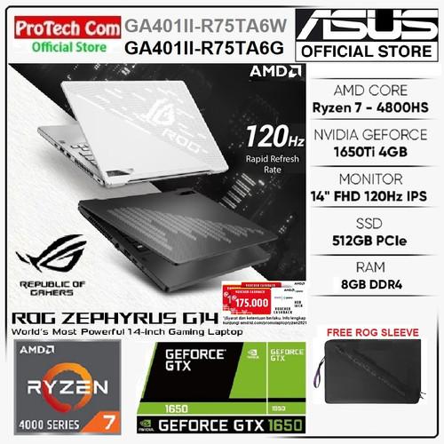 Foto Produk ASUS ROG ZEPHYRUS G14 GA401II RYZEN 7 4800HS 8GB 512GB GTX1650Ti 4GB dari Protech Computer