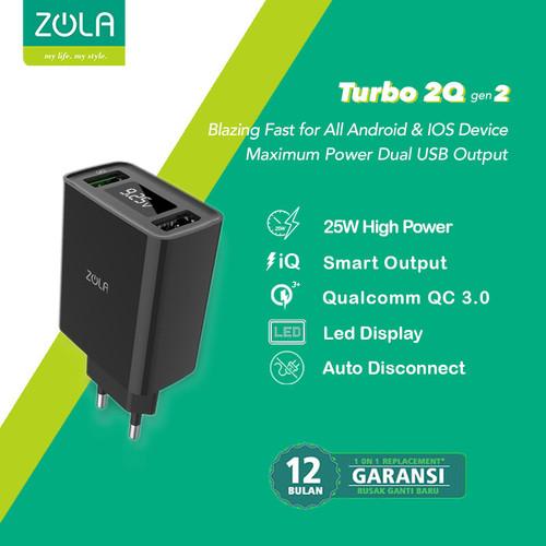 Foto Produk ZOLA Turbo 2Q Gen2 Smart Led Quick Charge 3.0 USB Charger Dual Output - Hitam dari Zola Indonesia