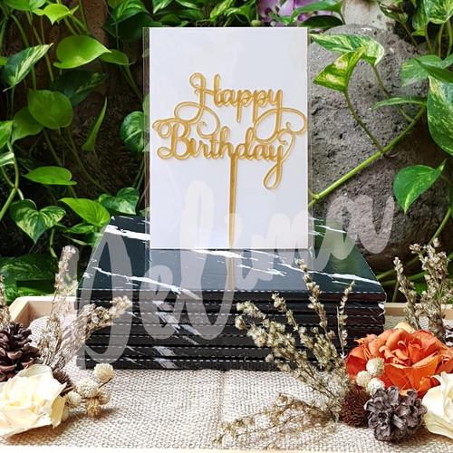 Foto Produk cake topper happy birthday / hiasan kue ulang tahun akrilik 15 x 7 cm - 01-gold dari Bingke Delima