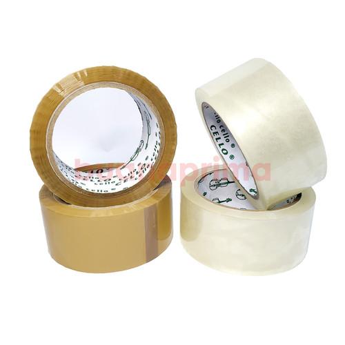 Foto Produk Lakban Bening Coklat Cello 45 mm x 90 Yards Selotip OPP Tape SKS - Bening dari Buana Prima Stationery