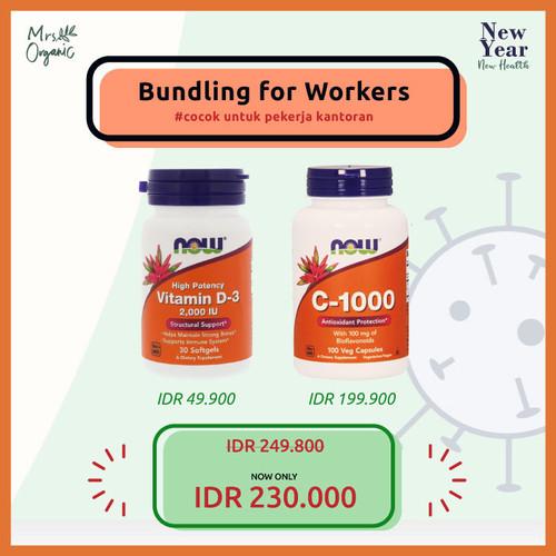 Foto Produk NYNH ( Now Vitamin d3 2000 Iu + Vitamin c 1000 mg) - for workers dari Mrs Organic