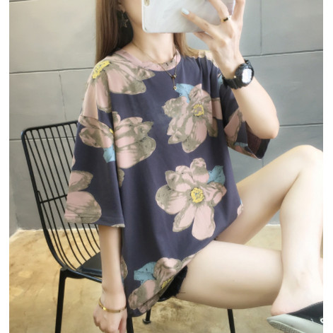 Foto Produk Kaos Flower Abstrak T Shirt Wanita Tangan Pendek Jumbo Bunga - Putih dari Grosir Korean style