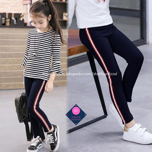 Foto Produk Legging Stripe Anak Perempuan 7 - 13 Th / Leging Strip / Lejing Polos - Hitam, polos dari Shaliha Official Shop