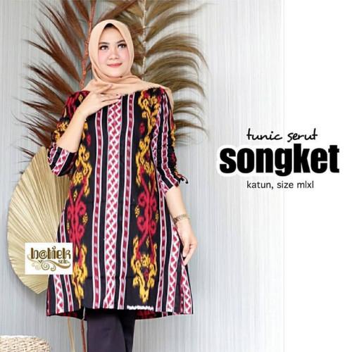 Foto Produk Baju tunik jumbo atasan wanita batik ld 120 motif songket bali dari TABASAMA