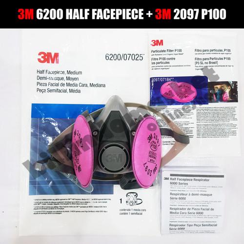 Foto Produk ORIGINAL 3M 6200 + 2097 Half Facepiece Respirator Half Gas Mask Medium dari billindomarket