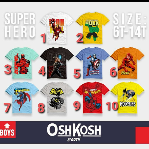 Foto Produk Kaos OshKosh Super Hero dari A-H-F shop
