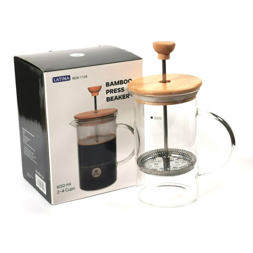 Foto Produk Alat Kopi Latina Bamboo French Press Coffee Beaker Server Pot 600ml dari MinnieStore