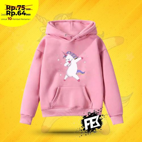 Foto Produk Jaket Switer Baju Hangat Anak Perempuan / Cewek Tebal Motif Hewan - UNICORN Pink, M dari FAS FASHION STORE