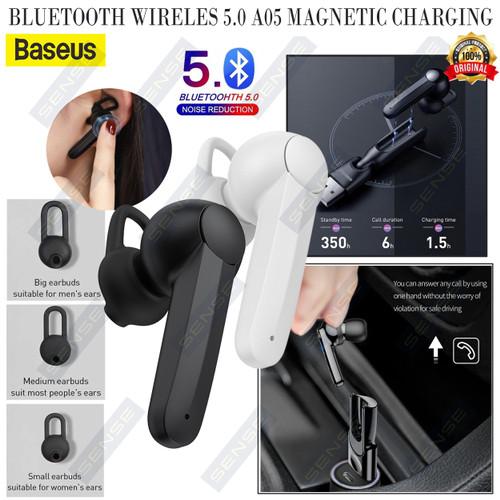 Foto Produk HANDSFREE BLUETOOTH WIRELES 5.0 A05 MAGNETIC CHARGING BASEUS ORIGINAL - Hitam dari Sense mall