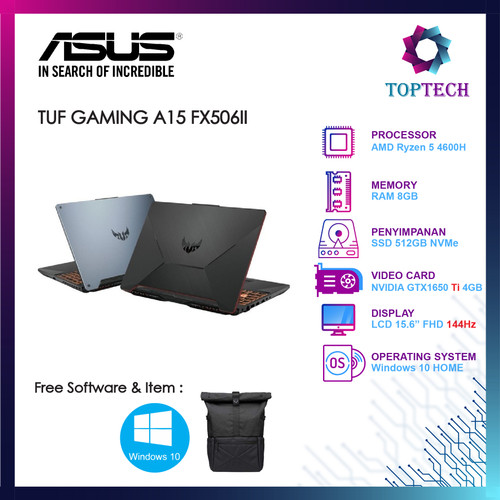 Foto Produk ASUS TUF GAMING A15 FX506II 144Hz Ryzen 5 4600H GTX1650Ti 4GB W10 - Abu-abu dari Top Tech