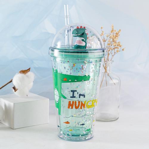 Foto Produk RUMAUMA Tumbler Minum Dinosaurus Anak Bottle Lid Straw Plastic Lucu - Hungry Hijau dari Rumauma