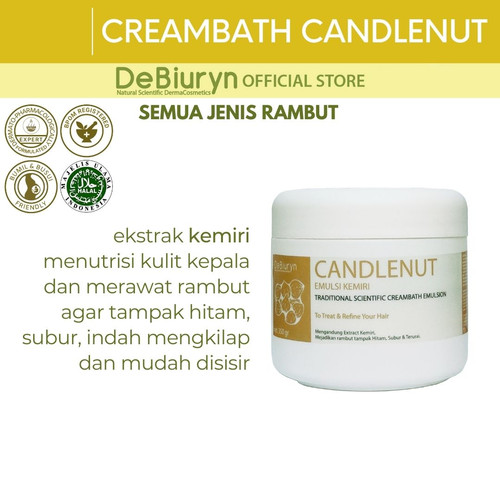 Foto Produk DeBiuryn CANDLENUT Creambath Emulsion 350gr - Rambut Hitam dari Debiuryn Dermacosmetics