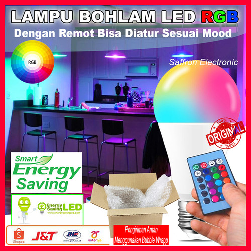Foto Produk LAMPU BOHLAM LED RGB BERUBAH WARNA WARNI REMOTE CONTROL ORIGINAL - 3Watt dari Super Saffron